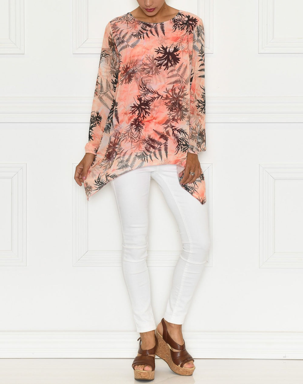 Leana bluse coral mix - Online-Mode