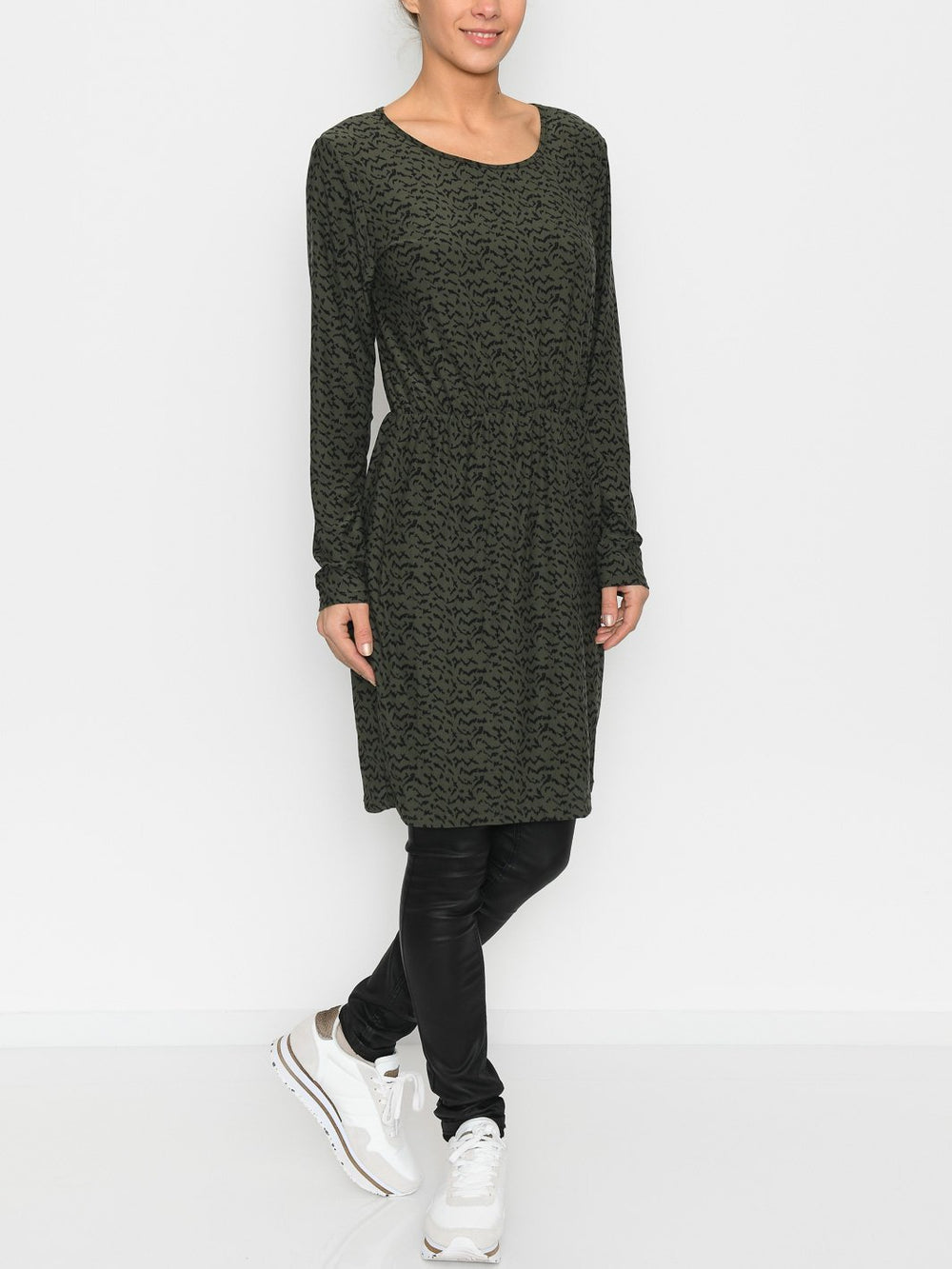 Liberté Alma LS straight dress olive blurred lines - Online-Mode