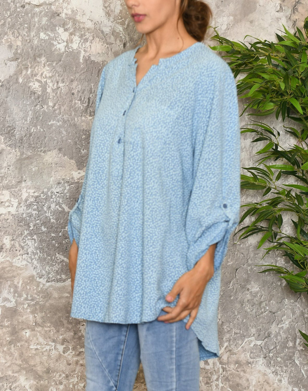Linda flower bluse blue - Online-Mode