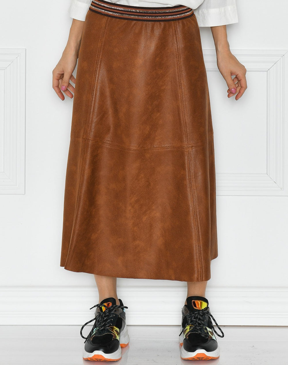 Luxzuz Madelina coated suede skirt brandy - Online-Mode