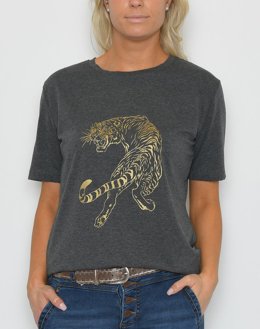 Luxzuz t-shirt sneaky tiger dark grey melange - Online-Mode
