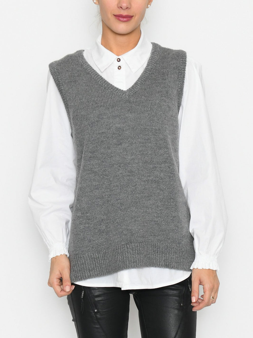 Luxzuz Taia vest medium grey melange - Online-Mode