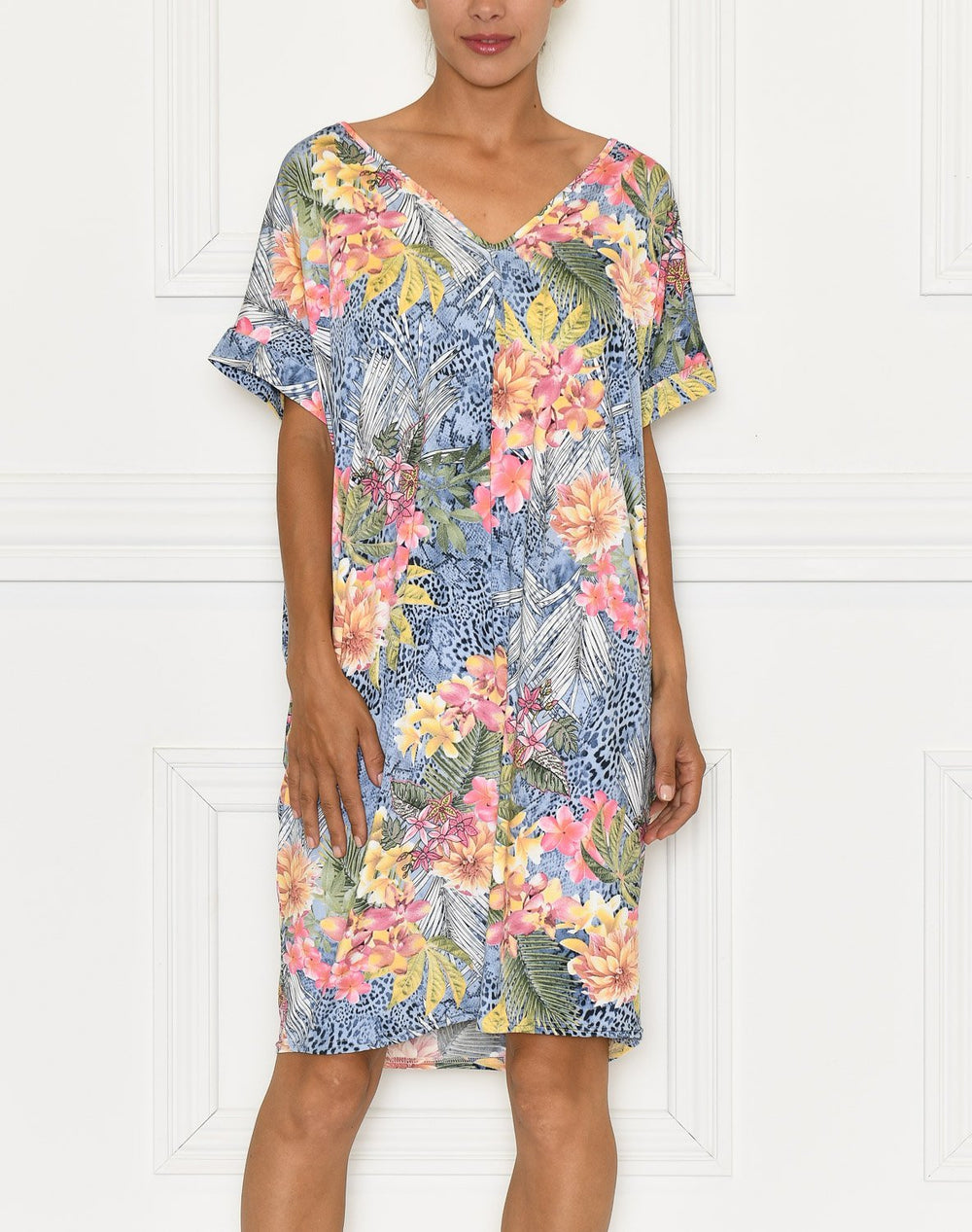 Margo dress blue/pink leo - Online-Mode
