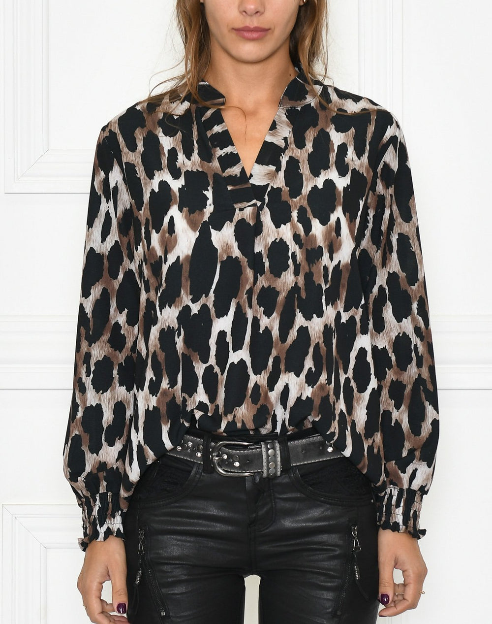 Milly bluse brown leopard mix - Online-Mode