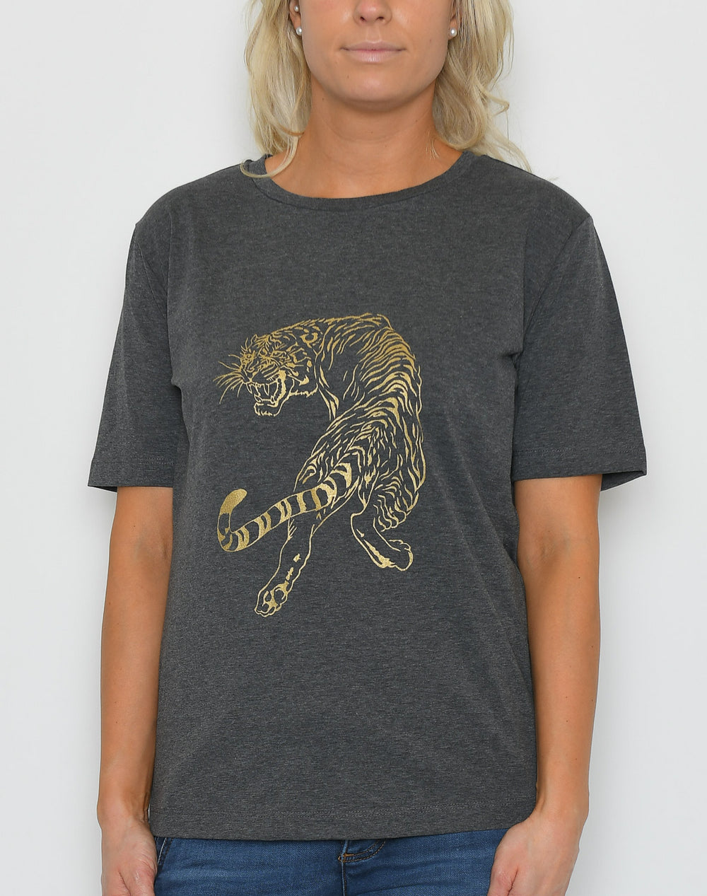 Luxzuz t-shirt sneaky tiger dark grey melange