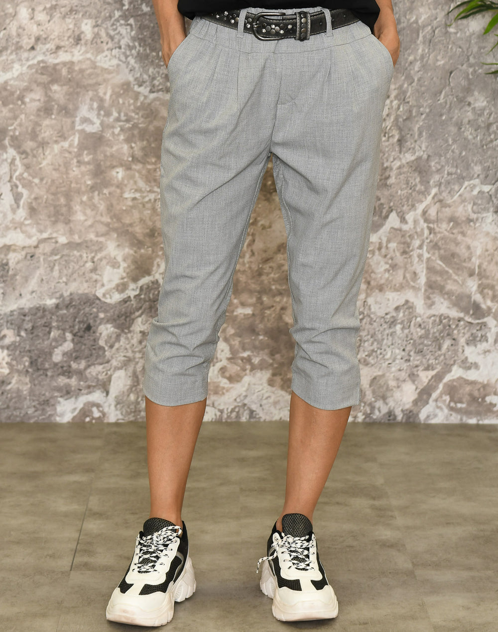 Kaffe Jillian capri pants light grey melange