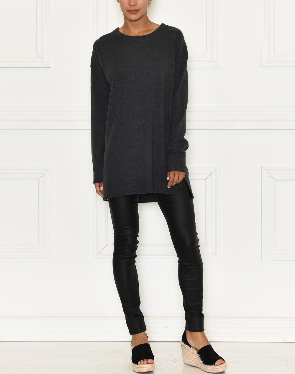 Soft Rebels Palmia O-neck long knit asphalt