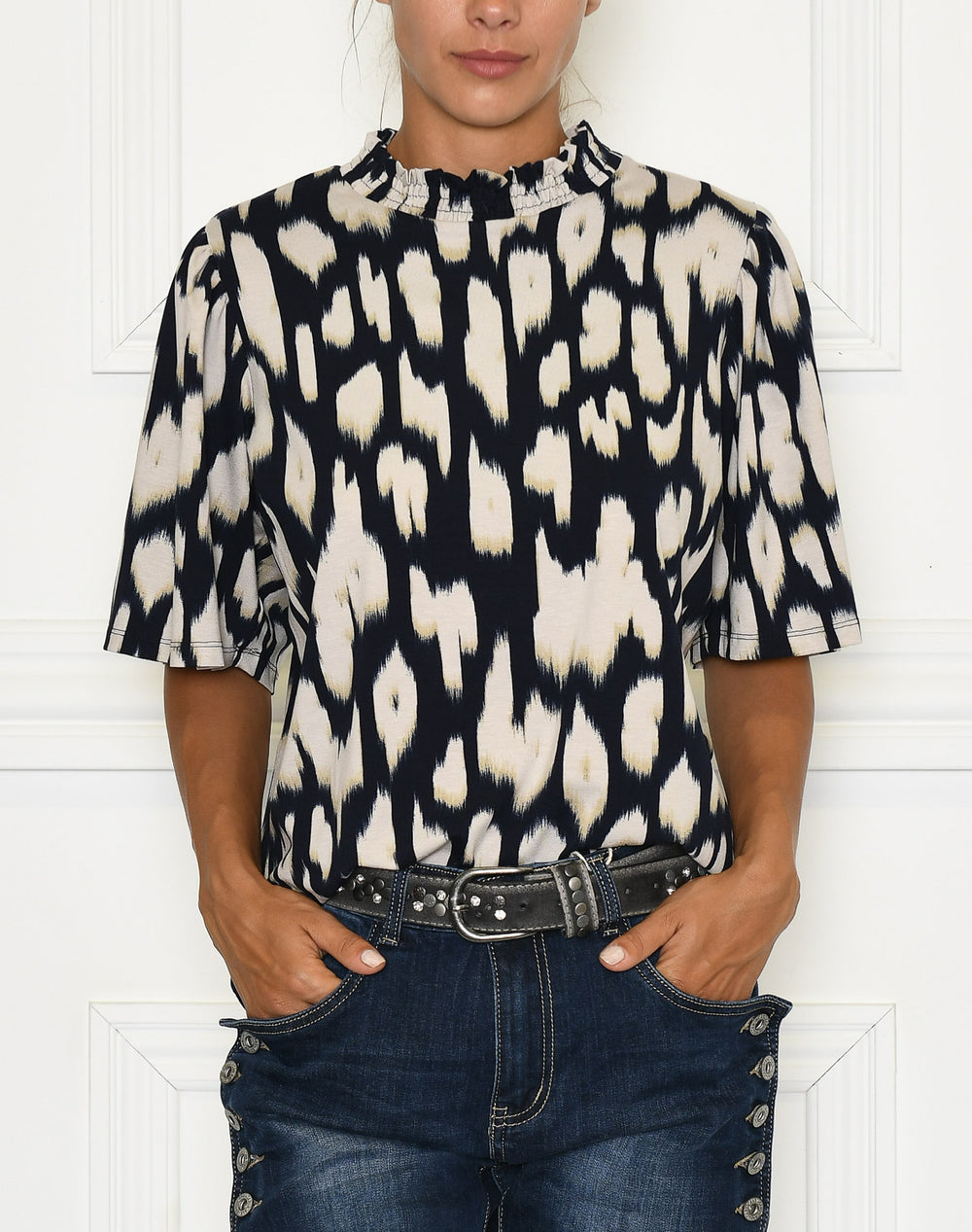 Saint Tropez Cam blouse blue deep animal skin