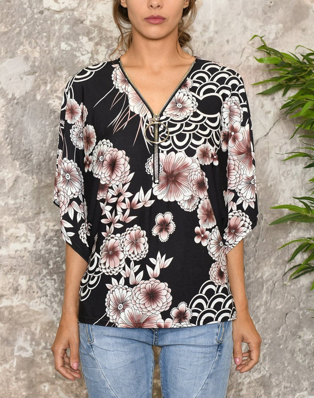 Mona bluse black mix - Online-Mode