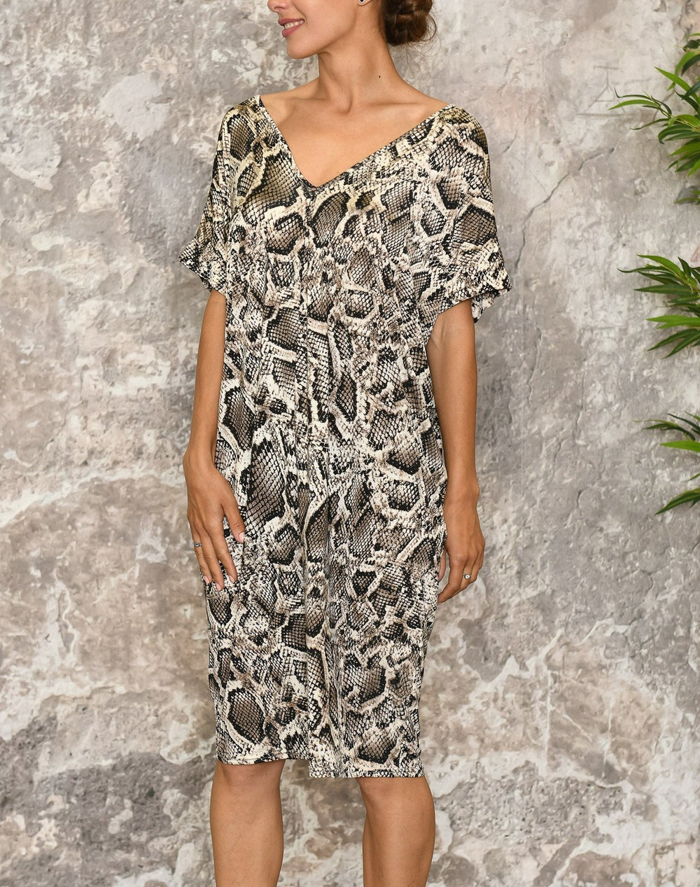 Nancy dress beige snake - Online-Mode