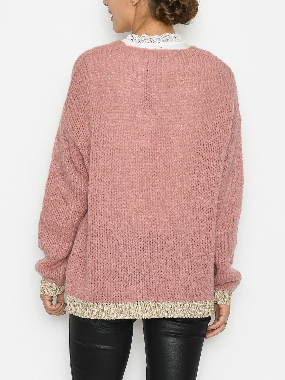 Noella Kala knit cardigan wool lurex/old rose - Online-Mode