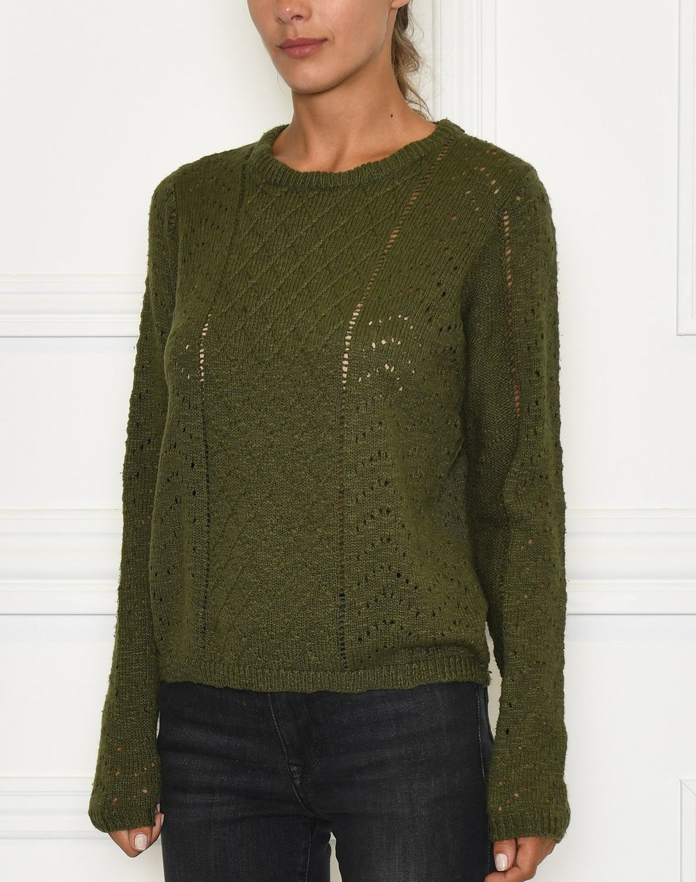 Ofelia Kissar knit blouse olive - Online-Mode