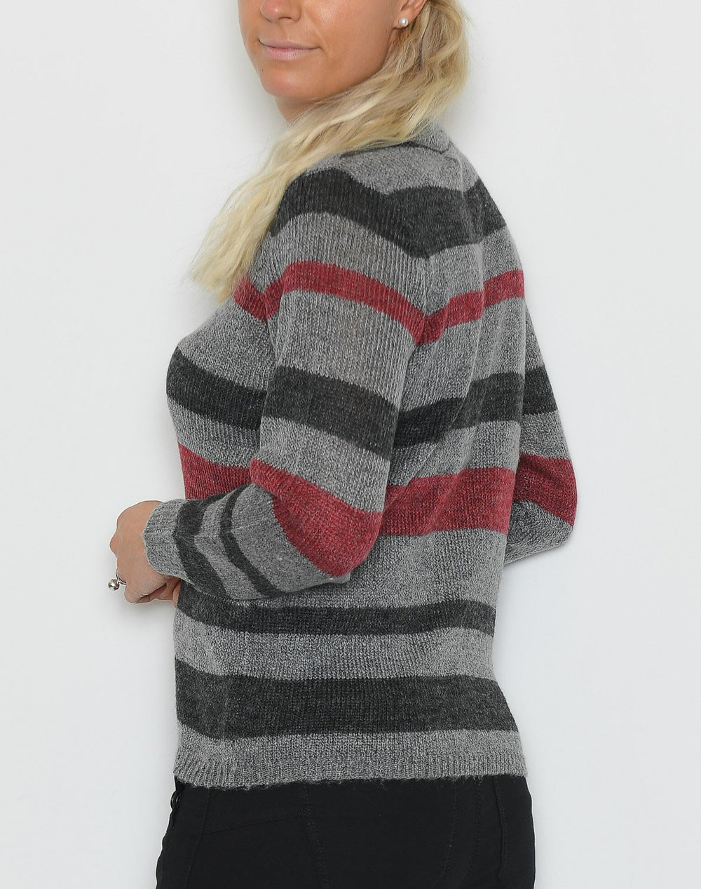 Ofelia Syset knit bluse red combi - Online-Mode