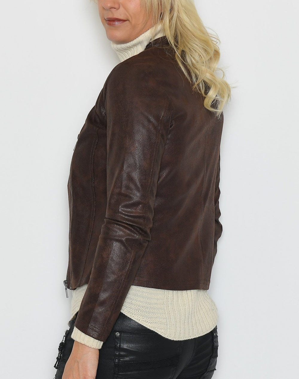 One Two Athena coated suede jacket choco lux - Online-Mode