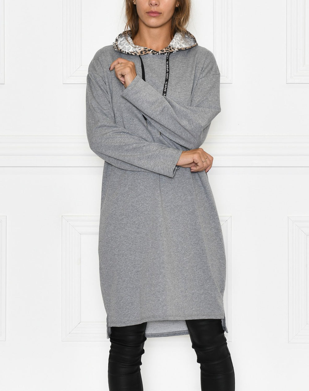 Philippa hoodie dress grey - Online-Mode