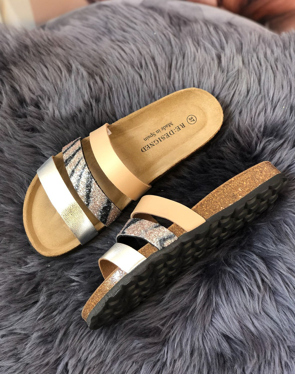 RE:Designed Taimi glitter 20 sandal taupe - Online-Mode