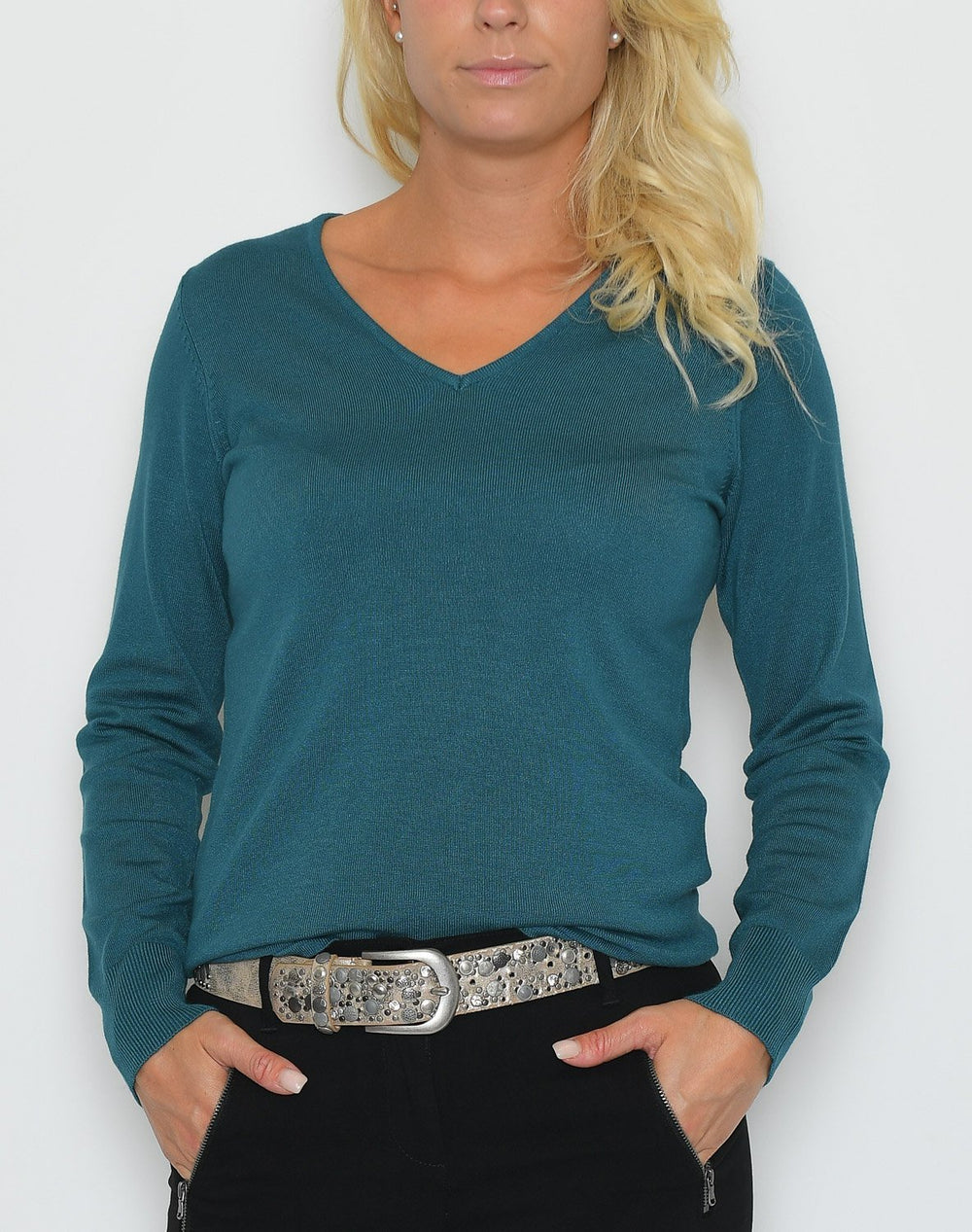 Saint Tropez Long SL blouse w. v.neck dragonfly - Online-Mode