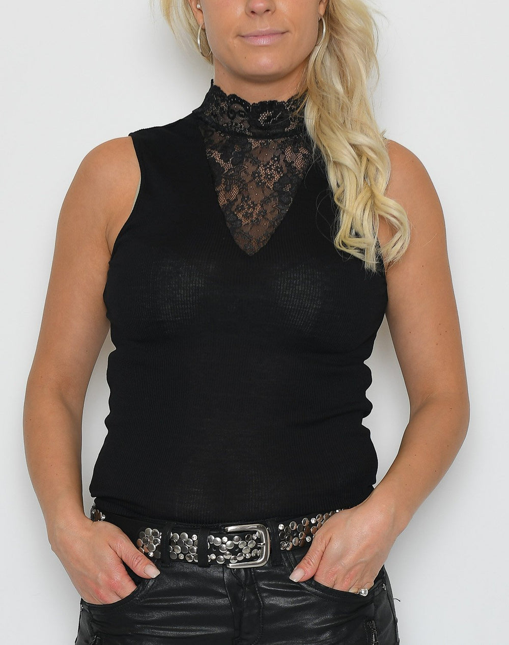 Saint Tropez P1521 blouse with lace black - Online-Mode