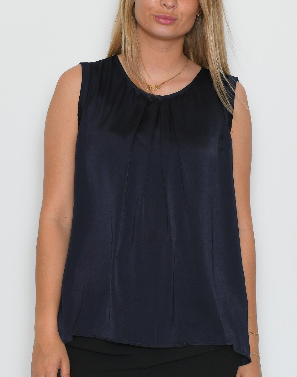 Saint Tropez Top with gather detail blue deep - Online-Mode
