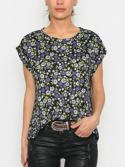 Sofie t-shirt floral print 1 purple/green - Online-Mode