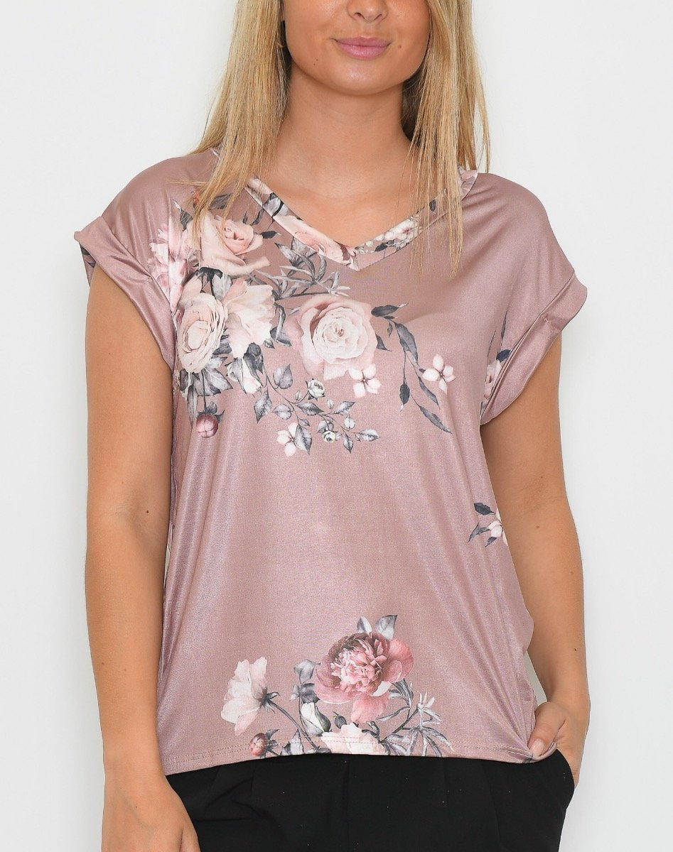 Sofie V-neck t-shirt 1 bouquet of flowers rose - Online-Mode