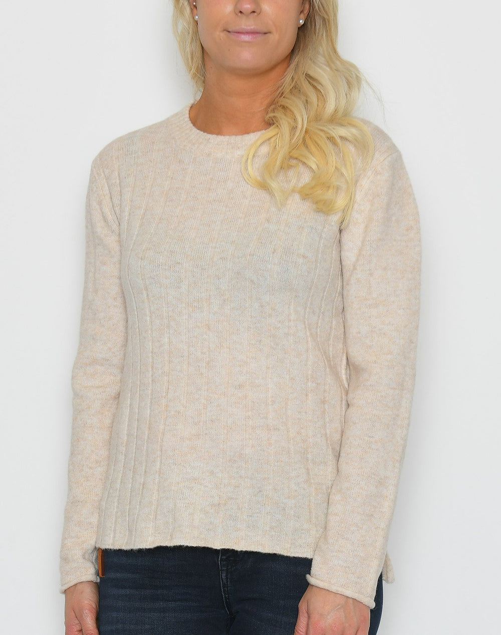 Soft Rebels Claire O-neck knit bleached sand - Online-Mode