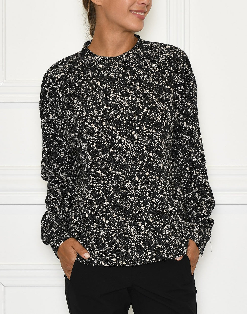 Soft Rebels Dee LS shirt mini leaf black print - Online-Mode