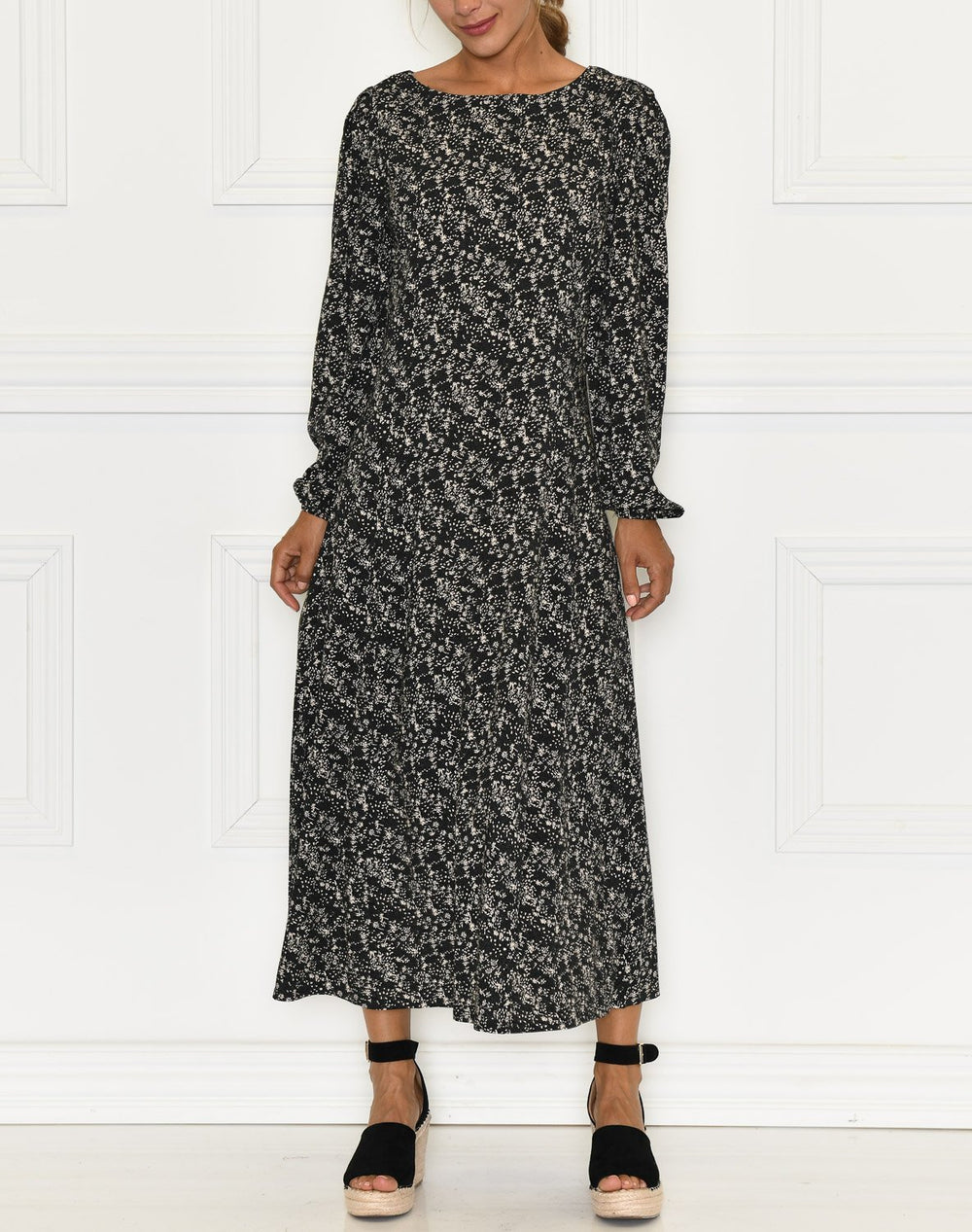 Soft Rebels Dee midi dress mini leaf black print - Online-Mode
