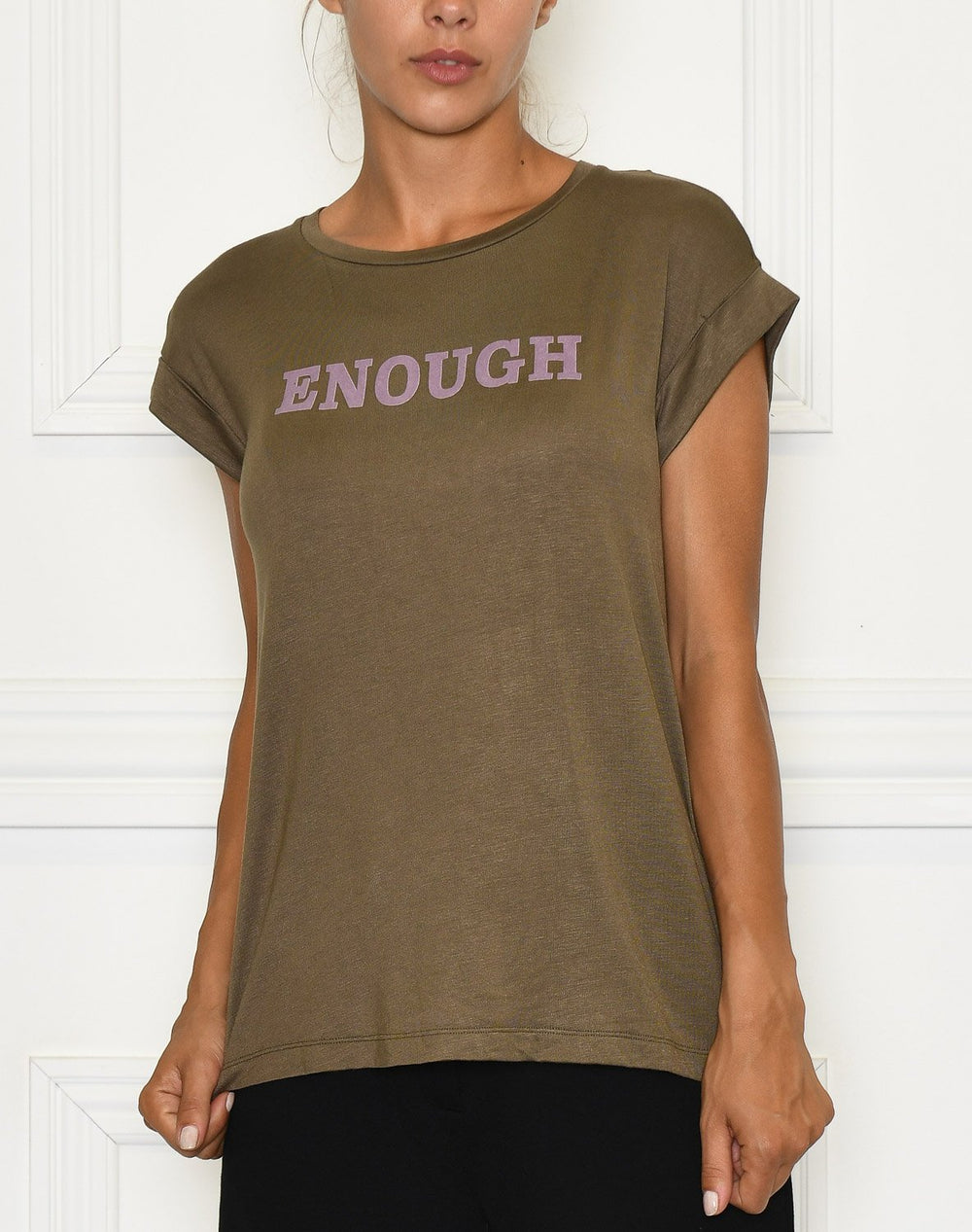Soft Rebels Enough t-shirt dark olive - Online-Mode