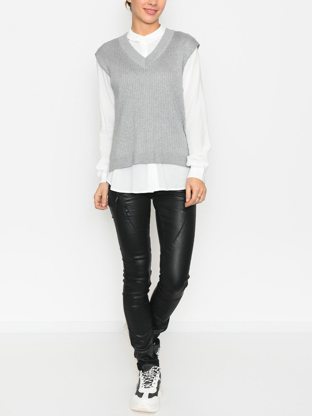 Soft Rebels Jasmin v-neck vest knit light grey - Online-Mode