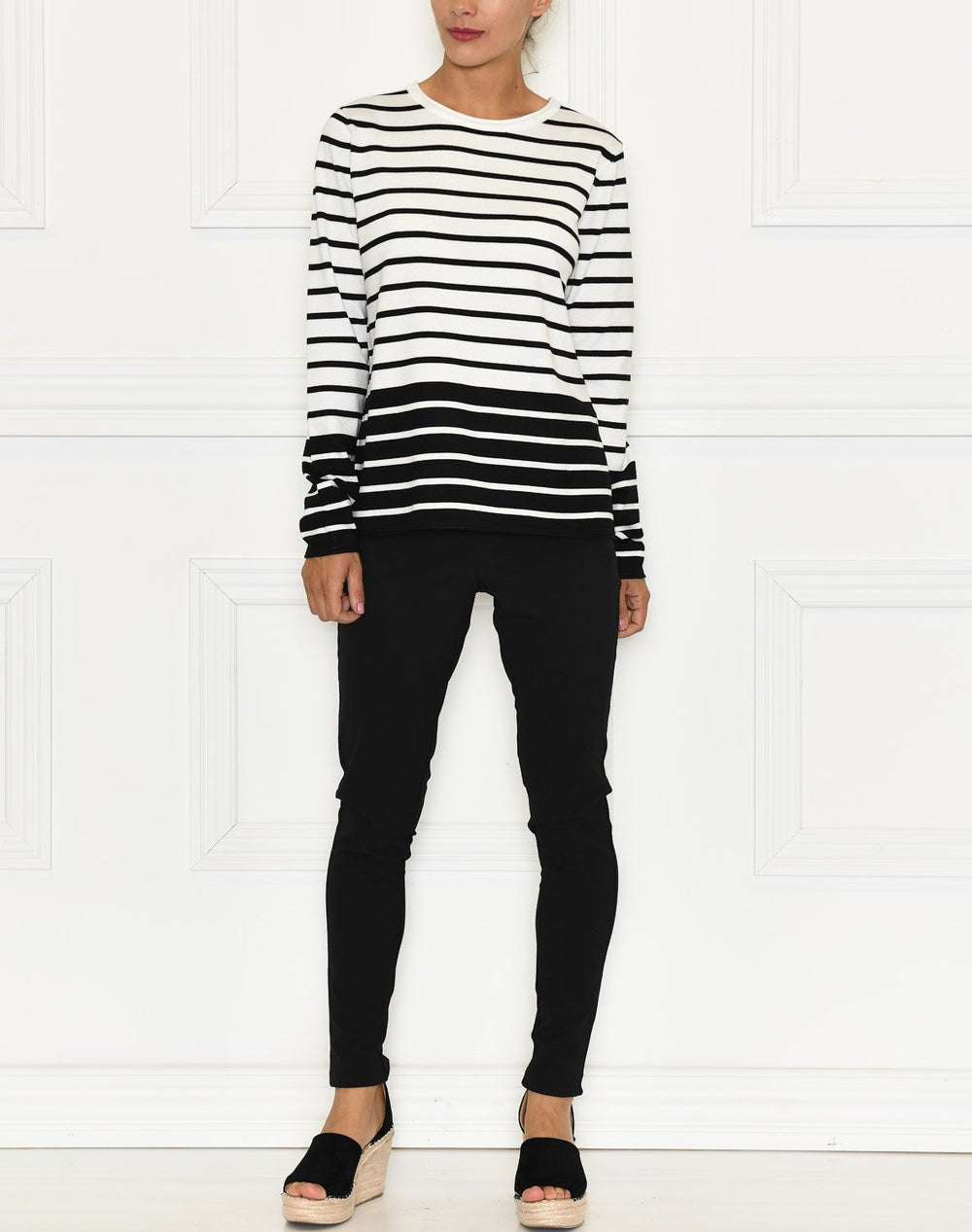 Soft Rebels Zara O-neck knit roll edge blocking stripe snow white / off white - Online-Mode