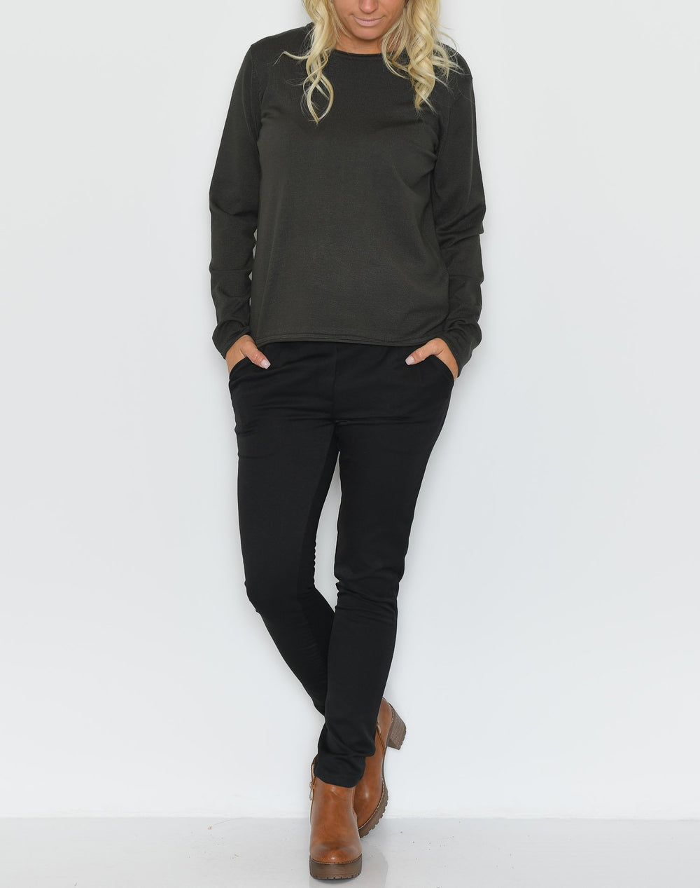 Soft Rebels Zara o-neck knit roll edge grape leaf - Online-Mode
