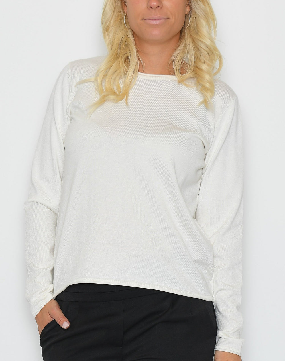 Soft Rebels Zara o-neck knit roll edge off white - Online-Mode