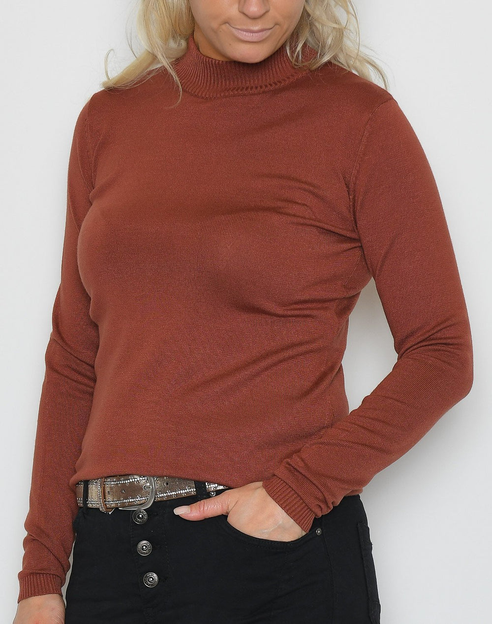 Soft Rebels Zara turtleneck bluse copper brown - Online-Mode
