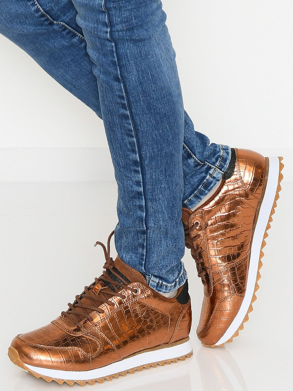 Woden Ydun croco shiny sneakers burnished copper - Online-Mode