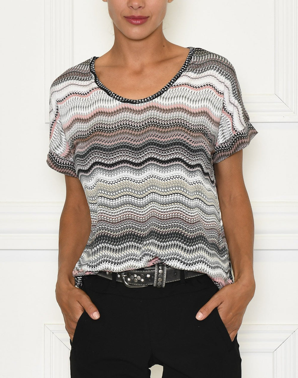 Zoey 5 t-shirt grey/rose waves - Online-Mode