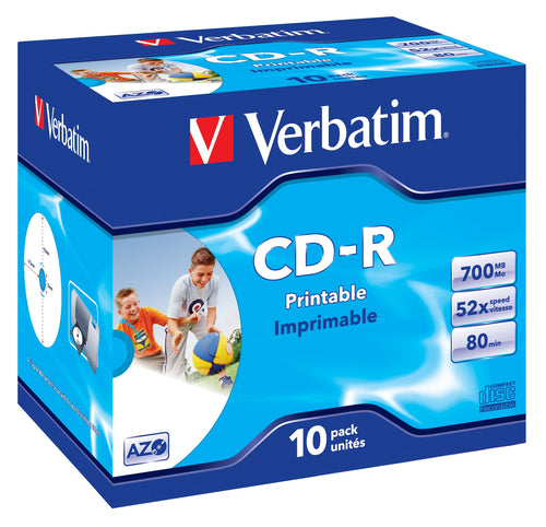 verbatim - 700mb - cd-r (52x) - wide printable jewel case - (box of…
