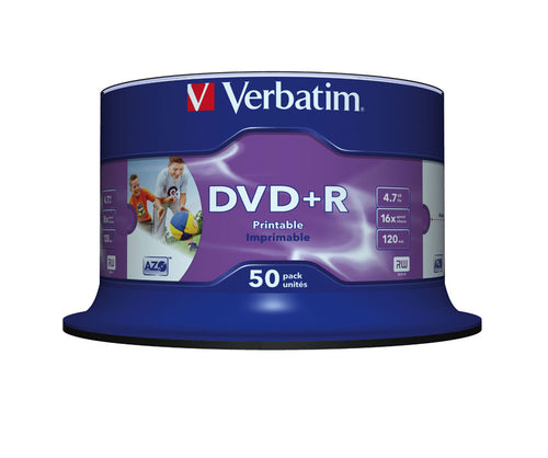 verbatim - 4.7gb dvd+r (16x) - printable no id spindle (pack of 50)…