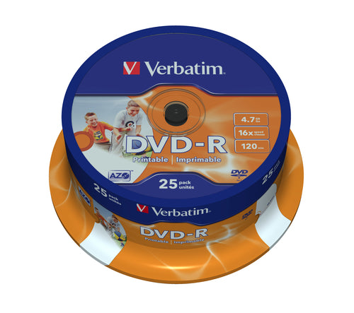 verbatim - 4.7gb dvd-r (16x) - printable spindle (box of 25)