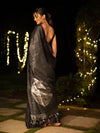 Universe Design Woven In Black Pure Kanchipuram Silk Saree with Silver Zari
