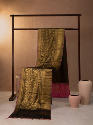 Vanasingaram Motif Woven In Black Pure Kanchipuram Silk Saree with Gold Zari