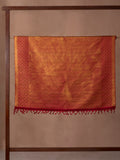 Abstract Art Woven In Torino Red Pure Kanchipuram Silk Saree with Gold Zari