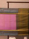 Diamond Modules Woven In Rose Pink Pure Kanchipuram Silk Saree with Gold Zari