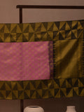 Diamond Pattern Woven In Creamy Pink Pure Kanchipuram Silk Saree with Gold Zari