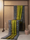 Diamond Modules Woven In Pistachio Green Pure Kanchipuram Silk Saree with Gold Zari