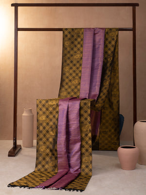 Braided Checks Woven In Amethyst Purple Pure Kanchipuram Silk Saree with Gold Zari