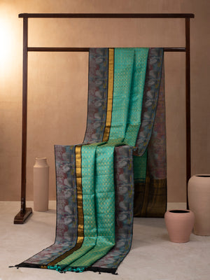 Diamond Modules Woven In Turquoise Green Pure Kanchipuram Silk Saree with Gold Jari