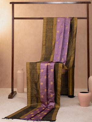 Floral Creeper Woven In Amethyst Purple Pure Kanchipuram Silk Saree with Gold Zari