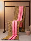 Braided Checks Woven In Creamy Pink Pure Kanchipuram Silk Saree with Gold Zari