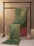 Mazy Peacock With Concealed Creeper Woven In Sage Green Pure Kanchipuram Silk Saree with Gold Zari